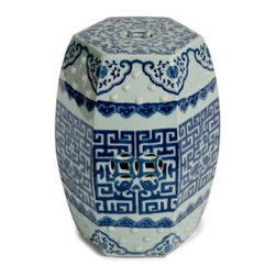 Blue and White Hexagonal Ceramic Garden Stool - In cobalt blue and white, this Chinese garden stool is such a classic. I have this one in my home and love it!