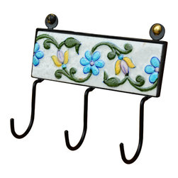 Sierra Living Concepts - Ceramic & Black Wrought Iron 3 Key Holder Hooks Wall Hanging - Floral Pastel Ceramic & Black Wrought Iron 3 Key Hook Wall Plaque Now you can have a pretty place for keys that will brighten up a wall and keep you organized. Our Floral Wall Plaque has 3 Key Hooks and attaches to the wall with just two screws. The twisted floral vine design features green, yellow, and blue shades against a white background. The ceramic rectangle is framed with black wrought iron. The long hooks can hold more than one key at a time. Our ceramic key hook plaque is hand crafted.