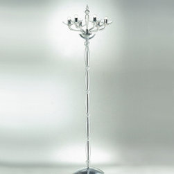 Av Mazzega - Ninfea Floor Lamp - Nifea Floor Lamp is made from handmade glass with a chrome frame and is available in amber, red, blue, or crystal finish options. Six 60-watt, 120 volt E14 base B10 incandescent bulbs are required, but not included. Dimensions: 19.7W x 82.7H.