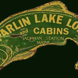 Red Horse Signs - Customizable Lodge and Cabin Sign Parlin Lakes Fish-Shaped Wood Sign - Vintage  Sign  -  Fish-shaped  Lodge  and  Cabin  Nostalgic  Advertising  Sign          Put  your  lake  lodge  on  the  map  with  this  customizable  fish  sign.  Personalize  with  lodge  name  town  and  state  name.  Sign  is  printed  directly  to  distressed  wood  for  a  rustic  finish  that's  perfect  for  lake  home  and  hunting  or  fishing  cabin.  Measures  23x41  inches.