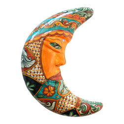 """Large Talavera Moon - Brighten up your home or patio, or give this delightful moon face as a gift for any occasion. The back of the moon includes hang holes for easy wall mounting. Handmade and painted by talented Mexican artisans. Visit our website to see more. Each one is unique so the item you receive will likely vary in design and color pallet. 16"""" w x 2.5"""" d x 21"""" h"""