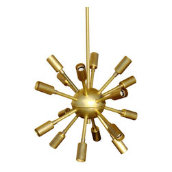 Inova Team -Modern Brass Chandelier - This treat of a light is sure to attract attention. With the space-age styling of our original Sputnik chandelier, it delivers gorgeous ambient light from a golden-toned brass body. It's a must for a warm, but incredibly stylish mid-century home.