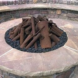 Custom Oak Steel Logs - Custom Oak Steel Log Kit and Fire Pit Installation