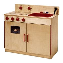 Steffy Wood Products - 2-in-1 Kitchen Center in Natural Finish - Includes 4-burner range with oven and sink, stove door with window and sink-sprayer. Ideal for space saving in the classroom. Meets CPSIA standards. Sturdy dado construction. Made in the USA. Minimal assembly required. Lifetime warranty. 30 in. W x 15 in. D x 29 in. H