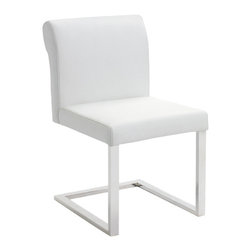 Nuevo Living - Bruno Dining Chair, Set of 2, White - Like getting a recipe from your grandma, this distinctive dining room chair blends a little of this century's designs with a dash of last century's elegance for a chair that everyone will savor. Wrapped in sumptuous leather, the scrolled, square back and plump seats are deliciously comfortable served on fresh-as-ever steel cantilever frames.