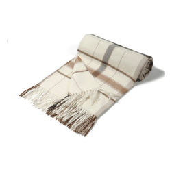 "KUNA - Jimena Throw, Brown - Contrasting two-toned plaid patterns. A bold classic. 63"" long x 51"" wide and 23 ounces."
