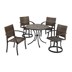 HomeStyles - Stone Harbor 5PC Dining Set with Newport Chai - Powder-coated steel. Synthetic-weave is both moisture and weather resistant. Nylon glides on legs for stability. 2-inch umbrella opening. Table Dimensions: 39.5 in. W X  39.5 in. D X  30 in. H . Chair Dimensions: 24.5 in. W X  24.5 in. D X  36 in. HCreate a tranquil and majestic atmosphere with The Stone Harbor 5PC Dining Set. The table top is constructed of small, square, hand-applied slate tiles in a naturally occurring gray variation; no two tables alike; featuring a center opening that can be used for an umbrella or can be closed with the included black cap for a continuous surface.  The cabriole designed base is constructed of powder coated steel in a Black finish.  The Newport Chairs features a two-tone walnut brown CycropleneTM, synthetic-weave, seat and back over a powder-coated steel frame in a black finish. The synthetic-weave is both moisture and weather resistant and required very little maintenance.  Adjustable, nylon glides prevent damage to surface caused by movement and provide stability on uneven surfaces.  Swivel chairs feature ball bearing 360 degree swivel. Seat height measures 18 inches high.  Set includes dining table, two swivel chairs, and two arm chairs. Table Size: 39.5w 39.5d 30h. Chair Size: 24.5w 24.5d 36h.