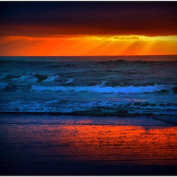 Studio D&K - Large Wall Art on Canvas Featuring a Vivid Orange Sunset at the Beach, 18x24 - Beach Art on Gallery Wrapped Canvas Featuring a Vivid Autumn Sunset.