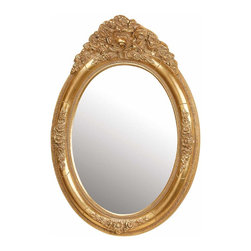 Renovators Supply - Mirrors Antique Gold Oval Wood Mirror 20W x 29H | 20620 - Oval Mirror Golden Finish Color. Gilded gold color finish mirror creates the grand illusion of space. Perfect for the bath- bedroom- hall or living room. Antiqued gold color finish. Measures 20 in. wide x 29 in. high. Mirror only 19 1/2 in. H x 14 1/4 in. W with a 5 in. projection.