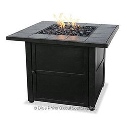 Blue Rhino - Ceramic Tile Firepit LP - Blue Rhino /Uniflame Ceramic Tile LP Gas Firepit w/ Ceramic Tile Mantel, Dark Slate Finish.