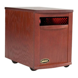 """Sunheat 1500 Infrared Heater Mahogany SH-1500-MAHOGANY - Sunheat 1500 Infrared Heater Mahogany SH-1500-MAHOGANYThe Original SUNHEAT electronic infrared zone heater provides safe, soft, comfortable warmth toany area of your home; effectively heating up to 1,000 sq. ft. with no harmful emissions. This powerful, portable, supplemental heat source cannot start a fire, is safe around children and pets and is environmentally friendly. Turn down the furnace, put the heat where you want and slash your heating costs!SpecificationWood Cabinet: Solid Oak Top / Dent and Stain Resistant / Environmentally FriendlyDimensions: 13"""" W x 19½""""D x 17¼"""" HWeight: 36lbs.Casters: Heavy Duty / Easy PortabilitySq. Ft. Heated: 800-1,000 Sq. Ft.Watts: 1500 - Generator CompatibleAmps: 12.5 - Last Setting MemoryWiring: 12AWG / Teflon Coated High Temp. / Aviation GradeThermostat: Honeywell (+/-2?)Power Cord: 7ft. / 12AWG / Appliance Grade PlugAir Filter: 3 ply / Lifetime / WashableHeat Tube: 6 Tubes / 250 Watts Each / 43,000+hrs. LifespanHeat Exchanger: 3 Cylinders / 24 oz Cured Copper / 1 Copper Heat DeflectorFan: 140 CFM / 150,000 hrs. LifespanHeat Output: Room Air temp. Plus 120?FWarranty: 5 Years Limited / Parts and LaborFree Heat: 7 to 10 Minutes of """"Free Heat"""" Cycle"""