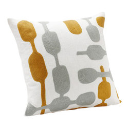 Coyuchi - Coyuchi Overlap Crewel Pillow, White W/ Pewter - Mid Mustard - Modern shows its warm side in a pattern of linked organic shapes embroidered in wool across subtly textural linen. Our removable pillow cover comes with a kapok insert. Coconut shell buttons close the back.