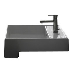 Scarabeo - Square White Ceramic Semi-Recessed Sink, One Hole - Modern style semi-recessed square white ceramic sink. Lavish semi-recessed bathroom sink with overflow. Available with no hole, one hole, or three holes. Made in Italy by Scarabeo.