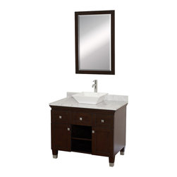 Wyndham - Premiere 36in. Bathroom Vanity Set - Espresso - A bridge between traditional and modern design, and part of the Wyndham Collection Designer Series by Christopher Grubb, the Premiere Single Vanity is at home in almost every bathroom decor, blending the simple lines of modern design like vessel sinks and brushed chrome hardware with transitional elements like shaker doors, resulting in a timeless piece of bathroom furniture.