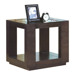 Monarch Specialties - Monarch Specialties I 7811E Cappuccino Veneer End Table w/ Glass Insert - This cube-shaped end table features a beautiful cappuccino veneer finish. A lower shelf is available for extra space and decoration as well as glass inserts on the table top. End Table (1)