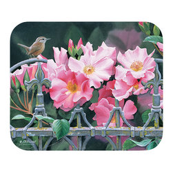"545-Wren & Pink Flowers Mouse Pad - Decorate your desk with your favorite art designs that look great and protect your mouse from scratches and debris. 100% Polyester face, 100% neoprene backing, permanently dye printed & fade resistant. 9.25"" x 7.5"""