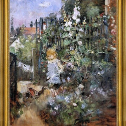 """Berthe Morisot-16""""x20"""" Framed Canvas - 16"""" x 20"""" Berthe Morisot Child in the Rose Garden framed premium canvas print reproduced to meet museum quality standards. Our museum quality canvas prints are produced using high-precision print technology for a more accurate reproduction printed on high quality canvas with fade-resistant, archival inks. Our progressive business model allows us to offer works of art to you at the best wholesale pricing, significantly less than art gallery prices, affordable to all. This artwork is hand stretched onto wooden stretcher bars, then mounted into our 3"""" wide gold finish frame with black panel by one of our expert framers. Our framed canvas print comes with hardware, ready to hang on your wall.  We present a comprehensive collection of exceptional canvas art reproductions by Berthe Morisot."""