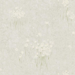 Brewster Home Fashions - Mae Green Jasmine Flowers Wallpaper Bolt - As if designed to dress the walls of a Japanese tea house this soft green and grey wallpaper design invites the delicate beauty of jasmine flowers to your bath space with a touch of silk shimmer.