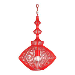 Kathy Kuo Home - Parker Red Mid Century Modern Strung Steel Wire Pendant Light - This red beauty evokes the exuberance and sleek elegance of mid century modern design while referencing the mood of Asian lanterns, and does it in a sophisticated strung steel wool design that casts a beautiful light around any contemporary room.