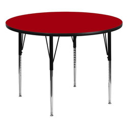 "Flash Furniture - 60"" Round Activity Table with Red Top and Adjustable Legs - Flash Furniture's XU-A60-RND-RED-T-A-GG warp resistant thermal fused laminate round activity table features a 1.125 in.  top and a thermal fused laminate work surface. This Round Laminate activity table provides a durable work surface that is versatile enough for everything from computers to projects or group lessons. Sturdy steel legs adjust from 21.125 in.  - 30.125 in.  high and have a brilliant chrome finish. The 1.125 in.  thick particle board top also incorporates a protective underside backing sheet to prevent moisture absorption and warping. T-mold edge banding provides a durable and attractive edging enhancement that is certain to withstand the rigors of any classroom environment. Glides prevent wobbling and will keep your work surface level. This model is featured in a beautiful Red finish that will enhance the beauty of any school setting."