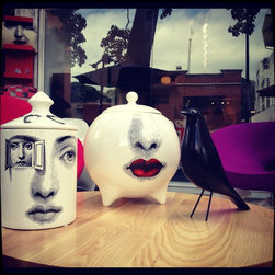 Accesories - Design Container inspired in the work of Piero Fornasetti, high quality finish, available at Urbana Interiors Miami