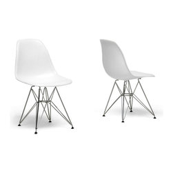 Baxton Studio - White plastic side chair with wire base (set of 2) - Many uses in the home, office, caf, reception area, or training room. Clean, simple form sculpted to fit the body. Shells are recyclable polypropylene. Wire base are made from chromed steel.