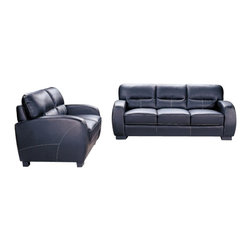 "CBAlaska - 2-Piece Alaska Collection Black Bycast Leather Upholstered Sofa and Love Seat - 2-Piece Alaska collection black bycast leather upholstered sofa and love seat set. This set includes the sofa and love seat upholstered in a black bycast leather upholstery. sofa measures 78"" x 36"" x 35"" H. love seat measures 57"" x 35"" x 36"" H. Some assembly may be required."
