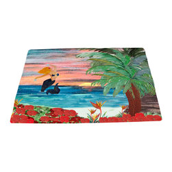 """xmarc - Mermaid Area Rugs, Mermaid Sunrise, 96""""X 48"""" - Mermaid area rugs, art appears on the top side, which is made of a soft plush polyester fabric. Bottom is made of durable white rubber mat with rounded and sewn corners."""