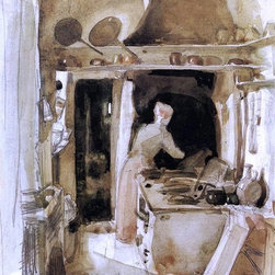 """James McNeill Whistler The Kitchen - 16"""" x 24"""" Premium Archival Print - 16"""" x 24"""" James McNeill Whistler The Kitchen premium archival print reproduced to meet museum quality standards. Our museum quality archival prints are produced using high-precision print technology for a more accurate reproduction printed on high quality, heavyweight matte presentation paper with fade-resistant, archival inks. Our progressive business model allows us to offer works of art to you at the best wholesale pricing, significantly less than art gallery prices, affordable to all. This line of artwork is produced with extra white border space (if you choose to have it framed, for your framer to work with to frame properly or utilize a larger mat and/or frame).  We present a comprehensive collection of exceptional art reproductions byJames McNeill Whistler."""