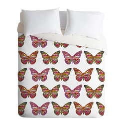 DENY Designs - Bianca Green Butterflies Fly Duvet Cover - Turn your basic, boring down comforter into the super stylish focal point of your bedroom. Our Luxe Duvet is made from a heavy-weight luxurious woven polyester with a 50% cotton/50% polyester cream bottom. It also includes a hidden zipper with interior corner ties to secure your comforter. it's comfy, fade-resistant, and custom printed for each and every customer.