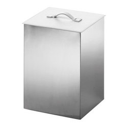 WS Bath Collections Secioni Paper Basket - Rid your home office or bedroom of refuse in style with the WS Bath Collections Secioni Paper Basket. Crafted with durable stainless steel in a matte gray chrome finish, this square trash bin is topped with a sleek leather lid with a soft handle - you choose black or white.About WS Bath CollectionsA tradition of fine handcraftsmanship, warmth of material, and beauty of design characterizes this company's exclusive collection of fine bathroom and kitchen products. The collections include innovative and distinctive sinks, washbasins, washstands, bathtubs, bathroom furniture, and complementary accessories that provide inspirational solutions for every imaginable decor.