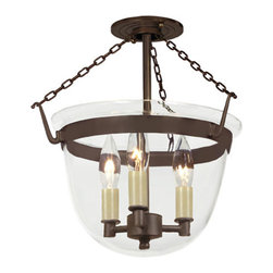 JVI Designs - Small Oil Rubbed Bronze Three-Light Bell Semi-Flush with Clear Glass - -Carrying the vision of rich opulence, the Bell Jar has evolved through times remaining a focal point of richness and affluence. From visions of old time class to modern day elegance, the bell jar remains a favorite in several settings of the home. Using mouth blown glass of different arrays and designs...the possibilities are endless to find a piece that matches your desired personality and vision.  -Materials: Brass and Steel  -Shade(s): Clear Glass JVI Designs - 1153-08
