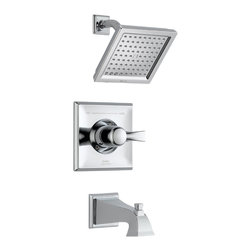 Delta - Dryden Monitor 14 Series Pressure Balance Tub and Shower Trim - Delta T14451 Dryden Monitor 14 Series Pressure Balance Tub and Shower Trim with Raincan Showerhead and Diverter Tub Spout in Chrome.