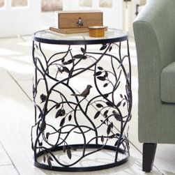 Grandin Road - Bird Barrel Table - Constructed of sturdy steel. Antique-black powdercoated finish. All-weather durability. Removable glass top is easy to clean. Our beautiful nature-inspired Bird Barrel Table consists of leafy branches that welcome perching birds. A functional work of art, this table features antique copper accents that highlight the leaves and birds.  .  .  .  .