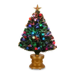 National Tree Company - 36-inch Fiber Optic Fireworks Multicolored Fiber Inner Ornament Tree with Top St - Create the perfect decor for Christmas with this green ornament tree adorned with a golden top star and an array of bright,multicolored lights. An elegant base in a matching golden hue provides sturdy support and completes the design of this tree.