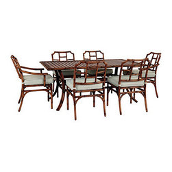 Galante 7-Piece Dining Set by Ballard Designs - This Galante dining set captures the look of bamboo in carefree aluminum.