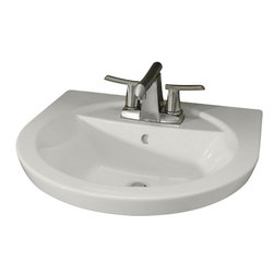 "American Standard - American Standard 0403.004.020 Tropic Petite Pedestal top, White - American Standard 0403.004.020 Tropic Petite Pedestal top, White. This petite pedestal top sink is designe dwith a vitreous china construction, a contemporary style, a rear overflow, a faucet ledge with a large deck area, a flat-bottomed basin, and a supplied mounting kit. It measures 21"" by 18-1/2"", with a 5-1/2"" bowl depth, and it comes with 4"" centered faucet mounting holes."