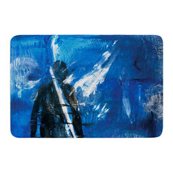 "KESS InHouse - Josh Serafin ""Release"" Blue Black Memory Foam Bath Mat (17"" x 24"") - These super absorbent bath mats will add comfort and style to your bathroom. These memory foam mats will feel like you are in a spa every time you step out of the shower. Available in two sizes, 17"" x 24"" and 24"" x 36"", with a .5"" thickness and non skid backing, these will fit every style of bathroom. Add comfort like never before in front of your vanity, sink, bathtub, shower or even laundry room. Machine wash cold, gentle cycle, tumble dry low or lay flat to dry. Printed on single side."