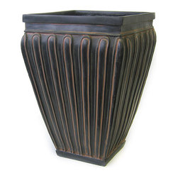 """Tapered Victorian Fiberglass Planter - Create a Victorian presence with your own fiberglass planters. Add style to your entrance or any room of your home with this modern fiberglass Victorian tapered planter. Measuring 20"""" in height, these stunning fiberglass planters are black with cream and dark green accents. No liner is required for this tapered planter. Add soil and your favorite plants to immediately throw some life into any room. Grouping two of these Victorian fiberglass planters on either side of a doorway will make for a striking entrance. These modern Victorian planters also look great on their own. Impress your friends and visitors with a tapered planter."""