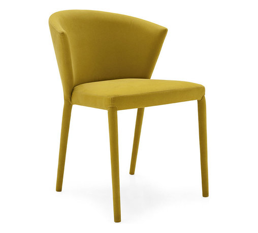 CALLIGARIS - Amelie Dining Chairs, Mustard Yellow, Set of 2 - FULLY UPHOLSTERED SEAT, LACQUERED STEEL LEGS, FIRE RETARDANT FOAM