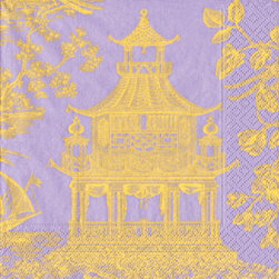 Lavender Toile Chinoiserie Pagoda Paper Cocktail Napkins - Serve your holiday cocktails in style with these lavender chinoiserie toile cocktail napkins. They're an elegant alternative to red and green for holiday entertaining.