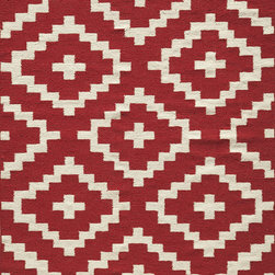 """Laguna LG-04 Red Rug - 3'6""""x5'6"""" - Geometric patterns, vibrant colors and chic simplicity all collaborate to make the flat-weave Dhurry collection, Laguna. Made in India of 100% wool, Laguna utilizes a vibrant color palette that plays off geometric patterns often found in paving stones, basket weaves and nature."""