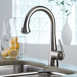 Grohe Kitchen Faucet 32 298 Ladylux3 - Grohe is a faucet leader in designing modern contemporary kitchen and bathroom faucets. Their faucets are best known for there smooth curve design and ergonomic handles. Grohe faucets truly take faucet technology and design to the next level.