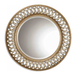 Uttermost - Entwined Scratched Silver Center Round Mirror - This unique, open fret frame is finished in antique silver and gold leaf over a mahogany undercoat.