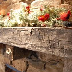 Elmwood Reclaimed Timber - Reclaimed Antique Hand Hewn Beam Fireplace Mantle - RECLAIMED ANTIQUE HAND HEWN BEAM FIREPLACE MANTLE