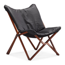 ZUO - Draper Lounge Chair - Black - Curl up like a contented house cat in our Draper Lounge Chair. Wrapped in a soft luxurious leatherette on a wooden collapsible base. Comes in white or black.