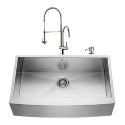 """VIGO Industries - VIGO All in One 36-inch Farmhouse Stainless Steel Kitchen Sink and Faucet Set - Give your kitchen a fresh new look with a VIGO All in One Kitchen Set featuring a 36"""" Farmhouse - Apron Front kitchen sink, faucet, soap dispenser, matching bottom grid and sink strainer."""
