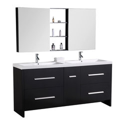 """Design Element - Perfecta  Double Sink Vanity Set in Espresso, Espresso, 72"""" - The Perfecta 72"""" double-sink vanity set lives up to its demanding name. With a cabinet that is fully constructed of quality woods it is durable and substantial. The tailored edges of the integrated white acrylic sinks contrast strikingly with the espresso cabinetry to bring a crisp and contemporary look to any bathroom. This set includes four pullout drawers and a soft-closing cabinet door all finished with satin nickel hardware. Two soft-closing mirrored medicine cabinets with joining espresso shelves provide additional storage."""