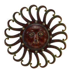 Benzara - Metal Sun Wall Plaque Feel The Warmth Of Sun - METAL SUN WALL PLAQUE is an excellent anytime low priced wall decor upgrade option that is high in modern age decor fashion.