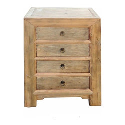 Golden Lotus - Rustic Natural Raw Wood 4 Drawers Chest - This is a simple end table / side table made of natural rustic raw wood with four drawers.